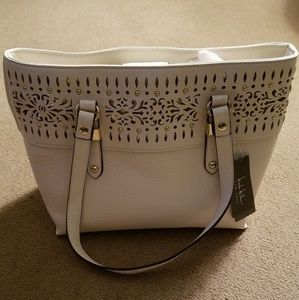Nicole Miller Tote Handbag Cream